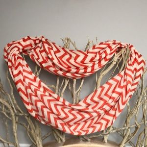 Accessories - Red Orange Chevron Infinity Scarf